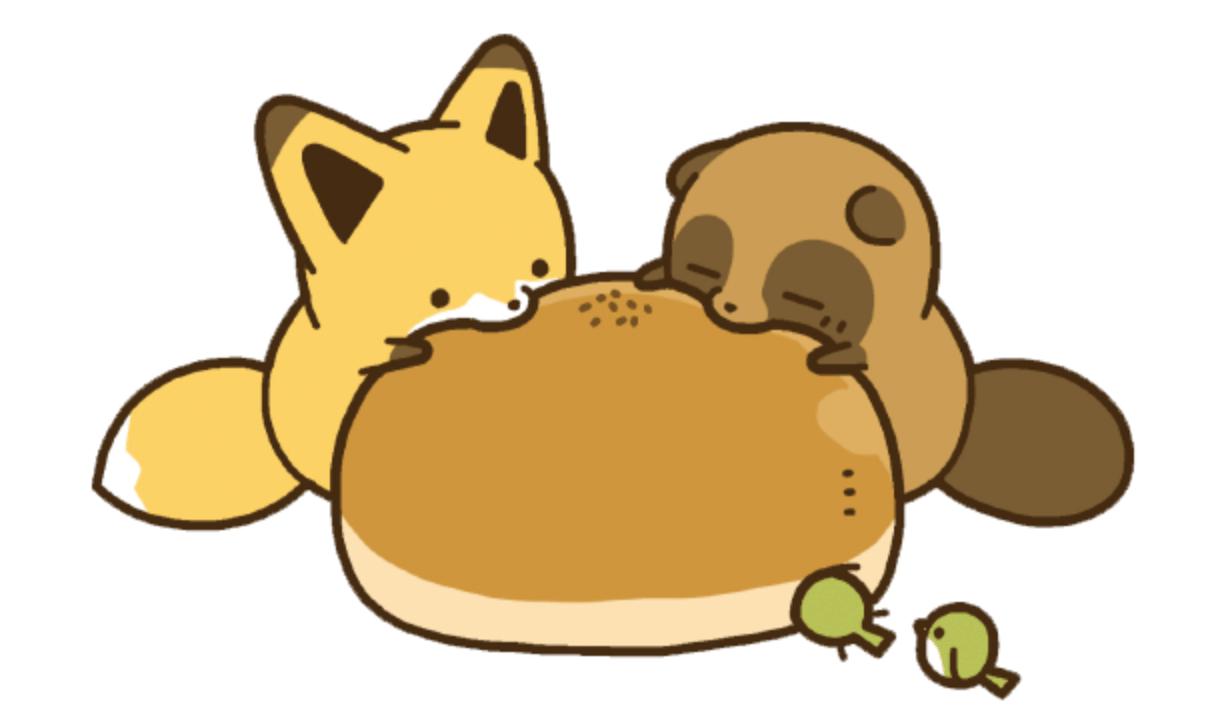 タヌキとキツネがお饅頭を食べる